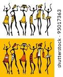 figures of african dancers  set.... | Shutterstock .eps vector #95017363