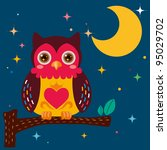 cute owl against a star night... | Shutterstock .eps vector #95029702