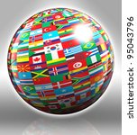 globe with flags with clipping... | Shutterstock . vector #95043796