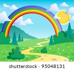 spring theme landscape 2  ... | Shutterstock .eps vector #95048131