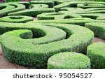 Beautiful labyrinth design in a house garden - stock photo