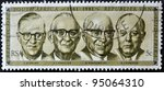Small photo of SOUTH AFRICA - CIRCA 1981: A stamp Printed in RSA shows Presidents 1961-1981 (Swart, Fouche, Diederichs and Vorster), circa 1981