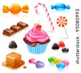 set of various candy elements... | Shutterstock .eps vector #95080993