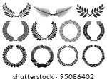 wreath set  laurel  oak  wheat  ... | Shutterstock .eps vector #95086402