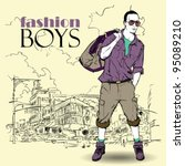 fashion boy with bag and... | Shutterstock .eps vector #95089210