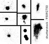 vector set of grungy ink splash ... | Shutterstock .eps vector #95092750