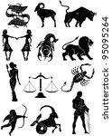 set of zodiac signs silhouettes | Shutterstock .eps vector #95095264