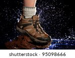 river crossing from one stone... | Shutterstock . vector #95098666