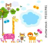 cute animals and flowers... | Shutterstock .eps vector #95101981
