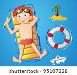water fun   boy | Shutterstock .eps vector #95107228