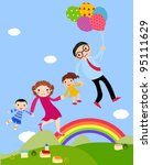 family with two children | Shutterstock .eps vector #95111629
