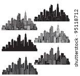 set of vector cities silhouette | Shutterstock .eps vector #95118712