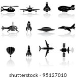 Set of black flying icons on white background, illustration - stock vector