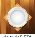 plate with napkin on wood... | Shutterstock .eps vector #95127334