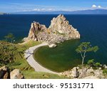 Shamanka-Rock on Olkhon island in Baikal lake, Russia - stock photo