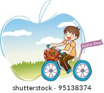 happy driving bike with cute... | Shutterstock .eps vector #95138374