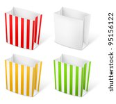 Set of Stripped color Paper Bags. Illustration on white background - stock vector