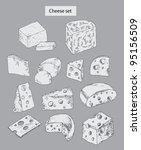 Cheese Set Hand Drawn...