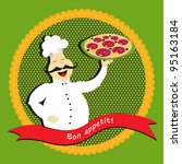 chef with pizza | Shutterstock .eps vector #95163184