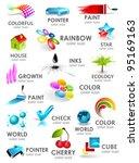 design 3d color icon set.... | Shutterstock .eps vector #95169163