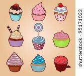 cupcake set with cute cartoon...   Shutterstock .eps vector #95171023