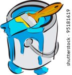 paint bucket with brush blue... | Shutterstock .eps vector #95181619
