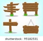 wooden signs set. | Shutterstock .eps vector #95182531