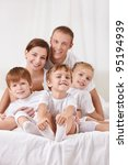 smiling family with children in ... | Shutterstock . vector #95194939