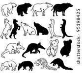 Animal Silhouettes Set on white background.