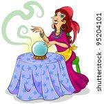 cartoon fortune teller with her ... | Shutterstock . vector #95204101
