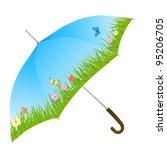 blue umbrella with grass ... | Shutterstock .eps vector #95206705