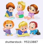 characters funny kids | Shutterstock .eps vector #95213887