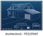 house blueprint vector... | Shutterstock .eps vector #95219065
