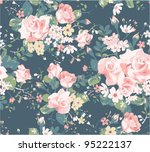 Seamless Vintage Rose Pattern...