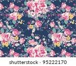 vintage rose pattern background | Shutterstock .eps vector #95222170