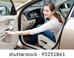 pretty young woman driving her... | Shutterstock . vector #95251861