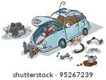 Cartoon Illustration Of A Car...