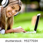 happy woman downloading music...   Shutterstock . vector #95277034