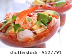 Cocktail Shrimp with Avocado Salsa Sauce - stock photo