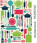 cute kitchen pattern. vector... | Shutterstock .eps vector #95290765