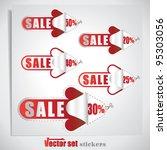 set of red sale arrow stickers | Shutterstock .eps vector #95303056
