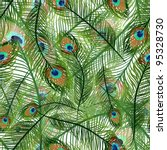 seamless texture with peacock... | Shutterstock .eps vector #95328730