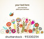 Stock vector greeting card with flowers 95330254