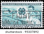 Small photo of USA - CIRCA 1952: A Stamp printed in USA shows the Farm, Club emblem, Boy and Girl, 4-H Club Issue, circa 1952