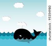 cute smiling whale | Shutterstock .eps vector #95354980