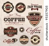 vintage retro coffee badges and ... | Shutterstock .eps vector #95357905