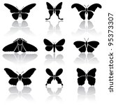 Set of black Butterflies icons on white background, illustration - stock vector