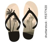 beach slippers travel concept... | Shutterstock .eps vector #95377420