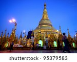 The shwedagon temple at yangoon  is the most holy place of myanmar - stock photo