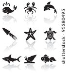 Set of black Sea animals icons on white background, illustration - stock vector